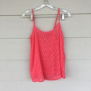 Electric Coral Forever 21 Chevron Tank Top